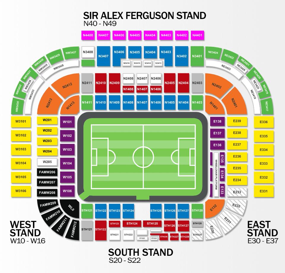 Plan du stade d'Old Trafford - Manchester United